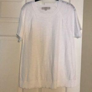 Loft white short sleeve sweater. Size M